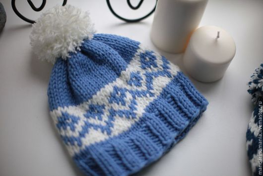 Шапки ручной работы. Ярмарка Мастеров - ручная работа. Купить Женская  шапочка Иней. Handmade. Голубой, узор, шерсть, теплая