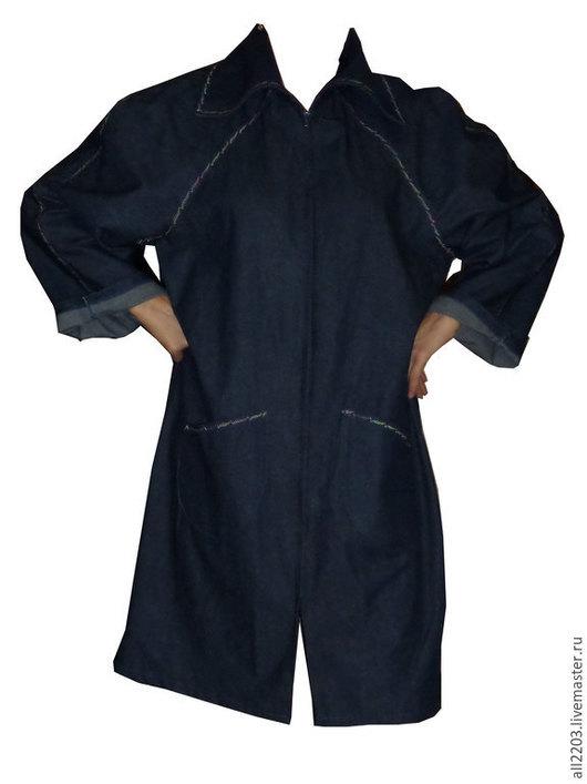 Верхняя одежда ручной работы. Ярмарка Мастеров - ручная работа. Купить Летний джинсовый плащ. Handmade. Синий, джинсовый плащ