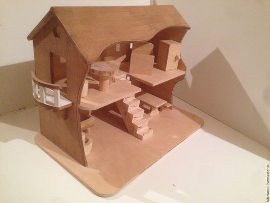 Кукольный дом ручной работы. Ярмарка Мастеров - ручная работа. Купить Кукольный домик с мебелью. Двухэтажный, с лестницей.. Handmade. Куколный