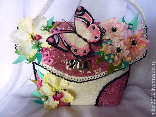 """Женские сумки ручной работы. Ярмарка Мастеров - ручная работа. Купить Сумка """"Розовый закат"""". Handmade. Комбинированный, сумка кожаная"""