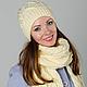 """Комплекты аксессуаров ручной работы. Ярмарка Мастеров - ручная работа. Купить Комплект вязаный """"Ваниль"""", шарф вязаный женский и шапка вязаная. Handmade."""