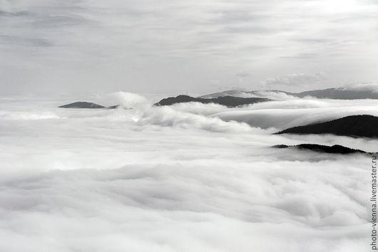 Фотокартины ручной работы. Ярмарка Мастеров - ручная работа. Купить Фотокартина авторская Альпы в тумане черно-белая. Handmade. Серебряный