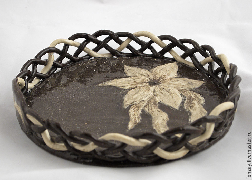 Openwork plate `Milady`. Braided ceramic and ceramic flowers Elena Zaichenko