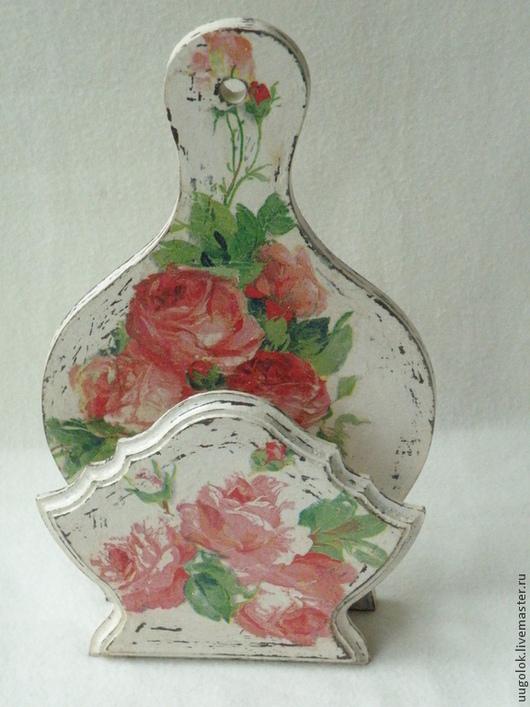 """Кухня ручной работы. Ярмарка Мастеров - ручная работа. Купить Салфетница """"Шебби-розы"""". Handmade. Белый, розы, подарок"""