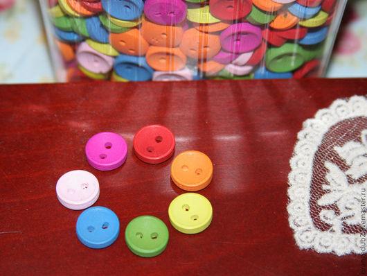 Шитье ручной работы. Ярмарка Мастеров - ручная работа. Купить Пуговицы 11 мм деревянные цветные. Handmade. Пуговица