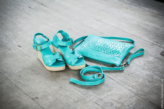 Обувь ручной работы. Ярмарка Мастеров - ручная работа. Купить Туфли кожаные Jess. Handmade. Мятный, туфли женские, подарок