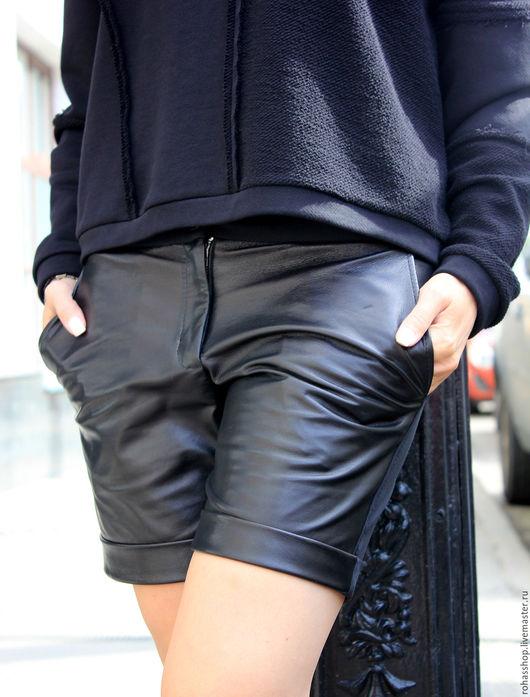 R00072 Шорты из натуральной кожи с карманами. Короткие шорты на лето/осень/зима/весна. Городской стиль гранж