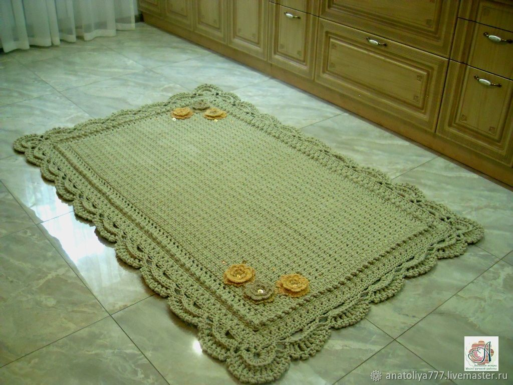 Home Textiles & Carpets handmade. Livemaster - handmade. Buy Knitted crochet rug from cord handmade buy with Lacy border.