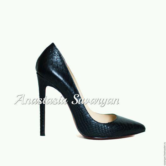 Обувь ручной работы. Ярмарка Мастеров - ручная работа. Купить Туфли в черной коже. Handmade. Черный, модная обувь