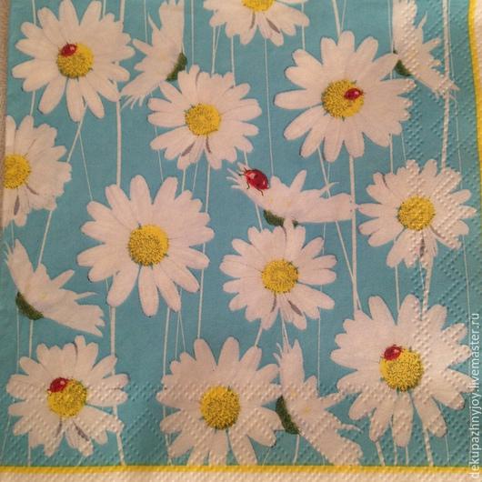 Белые ромашки на голубом фоне  Салфетка для декупажа Декупажная радость