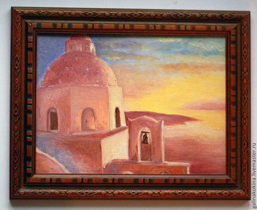 Картина Греческий остров, холст на картоне, масло, 15х20 в коричневой рамке.