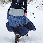 """Одежда ручной работы. Ярмарка Мастеров - ручная работа Льняная ярусная  юбка в пол """"Вечерняя дымка"""". Handmade."""