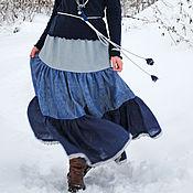 "Одежда handmade. Livemaster - original item Linen tiered skirt in floor ""Evening haze"". Handmade."