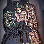 Одежда ручной работы. Ярмарка Мастеров - ручная работа Платье-туника-футболка Совушки. Handmade.