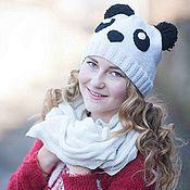 """Аксессуары ручной работы. Ярмарка Мастеров - ручная работа Шапка """"Панда"""" вязаная зверошапка спицами вязание зимняя шапка. Handmade."""