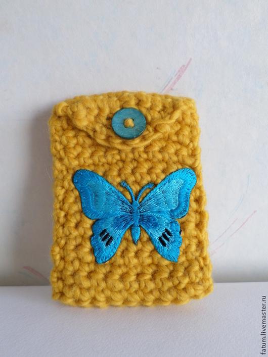Для телефонов ручной работы. Ярмарка Мастеров - ручная работа. Купить Чехол для телефона вязаный Бабочка - 3. Handmade. Желтый