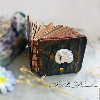 Деревяный блокнот, блокнот ручной работы, купить блокнот, блокнот купить, изготовление блокнотов, блокнот с нуля, полимерная глина, красивый блокнот, авторский блокнот,  подарок ручной работы, журавль