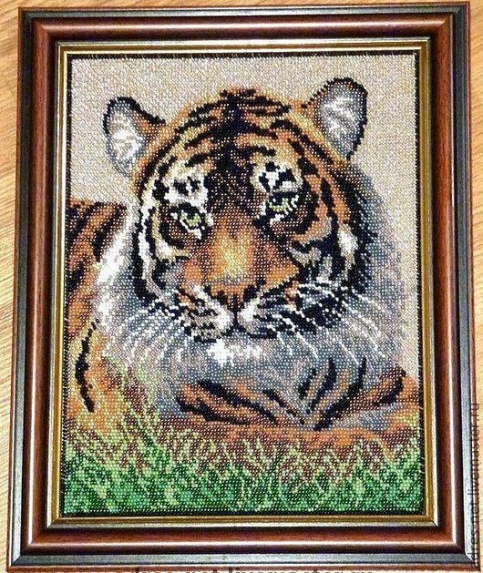 """Животные ручной работы. Ярмарка Мастеров - ручная работа. Купить """"Ослепительный тигр"""" - вышивка бисером (картина). Handmade. Тигр"""