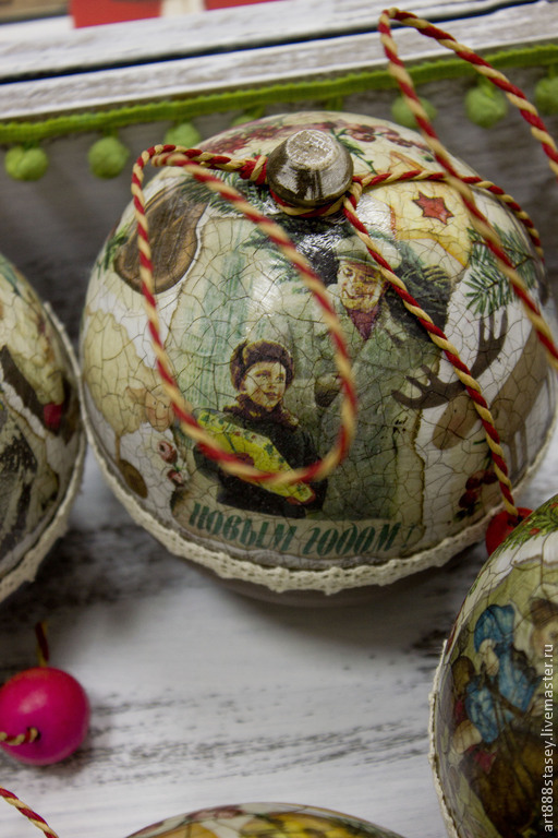 Новый год 2017 ручной работы. Ярмарка Мастеров - ручная работа. Купить Ёлочные шары в новогоднем коробе. Handmade. Елка, подарок