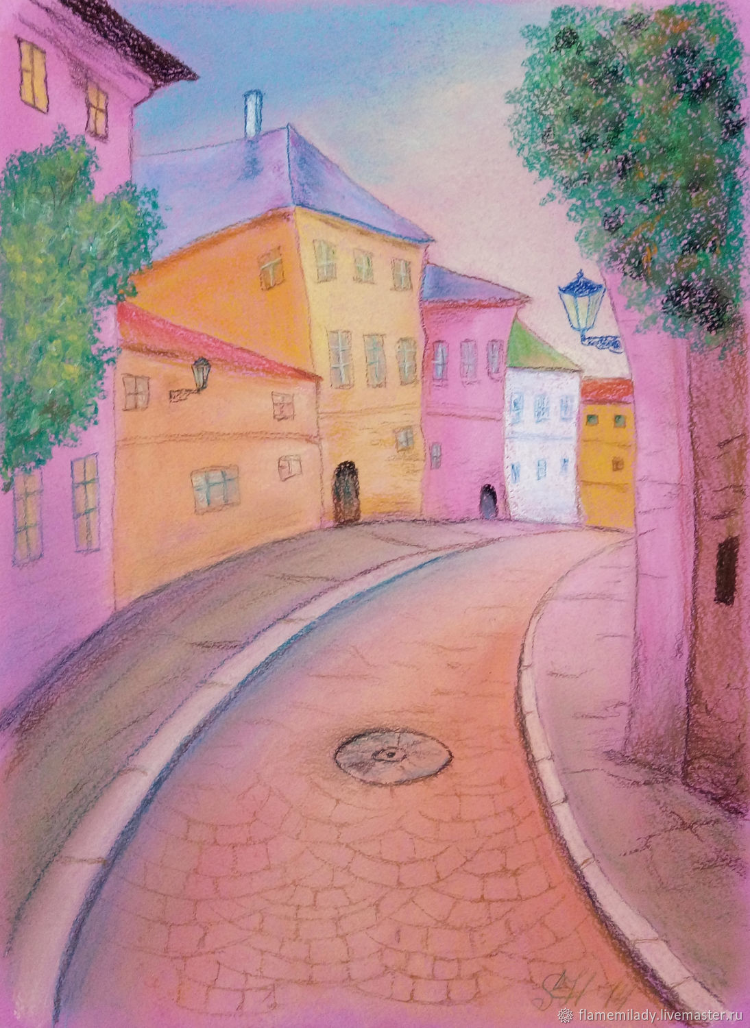 The picture city landscape Houses painting with pastels, Pictures, Ekaterinburg,  Фото №1