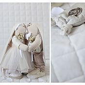 Куклы и игрушки ручной работы. Ярмарка Мастеров - ручная работа Зайцы. Свадебные зайки сливочного цвета.. Handmade.