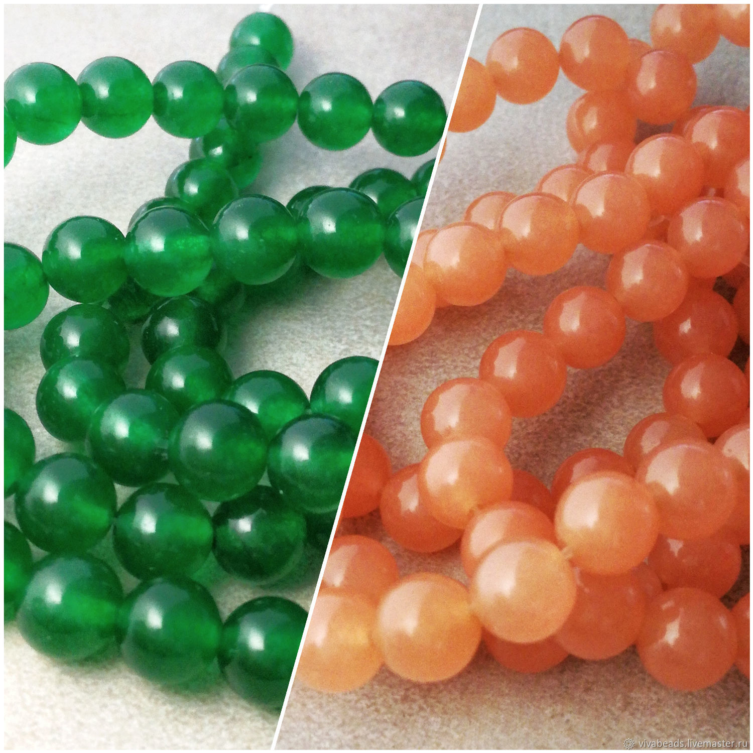 Jade toned beads smooth ball, colors ORANGE, GREEN, size 8 mm, hole 1 mm (art. 973)
