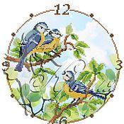 Материалы для творчества ручной работы. Ярмарка Мастеров - ручная работа Часы с синичками. Схема для вышивки бисером.. Handmade.