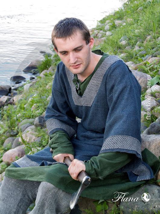 Костюм `Скандинавский` (Средневековье), лен, шерсть. Индивидуальный пошив, Флана