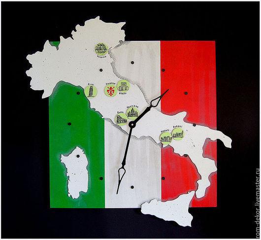 """Часы для дома ручной работы. Ярмарка Мастеров - ручная работа. Купить Большие (70х70 см) часы настенные """"Claudius""""(Италия), ручная роспись. Handmade."""