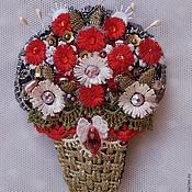 Украшения ручной работы. Ярмарка Мастеров - ручная работа Корзинка с красными цветами. Handmade.