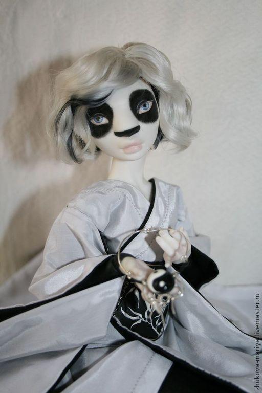 Коллекционные куклы ручной работы. Ярмарка Мастеров - ручная работа. Купить Панда в кимоно. Фарфоровая шарнирная кукла. Handmade.