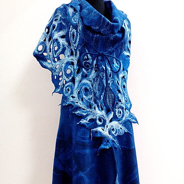 Accessories handmade. Livemaster - original item The Blue shawl patterns felted. Handmade.