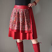 Одежда handmade. Livemaster - original item Skirt Russian style red suede. Handmade.
