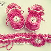 Работы для детей, ручной работы. Ярмарка Мастеров - ручная работа Крестильный набор Розовая мечта (пинетки+повязка). Handmade.