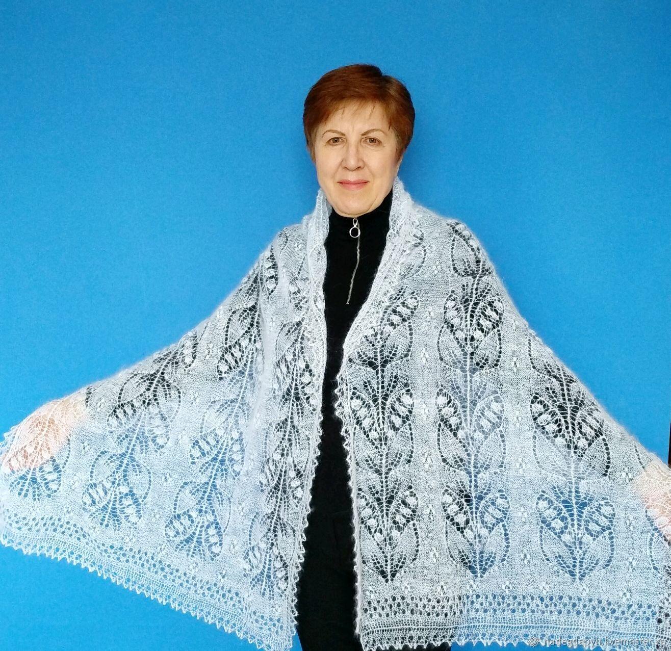 252 палантин оренбургский пуховый белый ажурный аксессуары, Палантины, Оренбург,  Фото №1