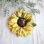 Украшения handmade. Livemaster - original item Sun Flower leather brooch. Handmade.