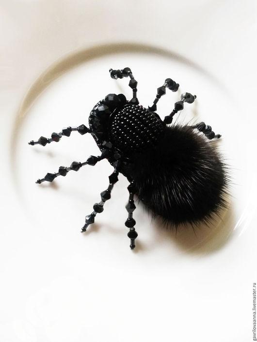 """Броши ручной работы. Ярмарка Мастеров - ручная работа. Купить Брошь """"Бельгийский паук"""". Handmade. Черный, брошь паук москва"""