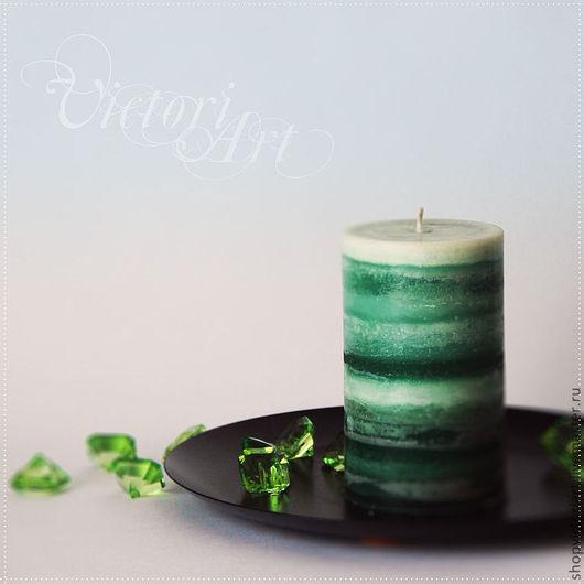 """Свечи ручной работы. Ярмарка Мастеров - ручная работа. Купить """"Бриз"""" Свеча ручной работы. Handmade. Зеленый, оригинальные свечи"""