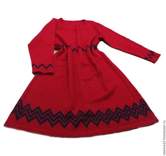 """Большие размеры ручной работы. Ярмарка Мастеров - ручная работа. Купить Платье """"Брусничное с сапфировым зигзагом"""" вязаное на любой размер. Handmade."""