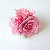"""Цветы и флористика ручной работы. Ярмарка Мастеров - ручная работа Резинка для волос """"Розовое трио"""". Handmade."""