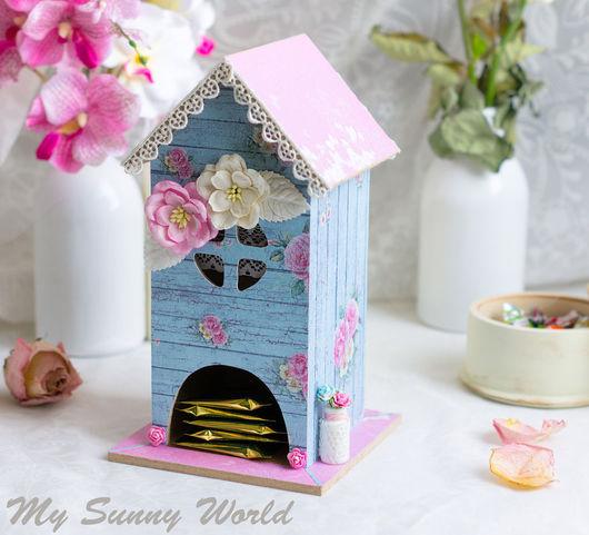 """Кухня ручной работы. Ярмарка Мастеров - ручная работа. Купить Чайный домик """"Весенний"""". Handmade. Голубой, домик для чая"""