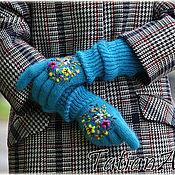 """Аксессуары ручной работы. Ярмарка Мастеров - ручная работа Длинные  перчатки с вышивкой """"Бирюзовые"""". Handmade."""