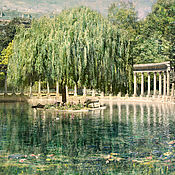 Картины и панно handmade. Livemaster - original item Green Photo painting nature Summer landscape with willow, Poster. Handmade.