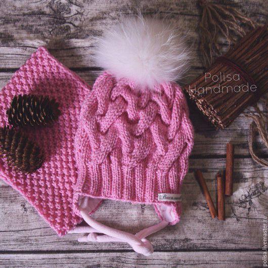 Шапки и шарфы ручной работы. Ярмарка Мастеров - ручная работа. Купить Зимняя шапка с помпоном + снуд. Handmade. Орнамент