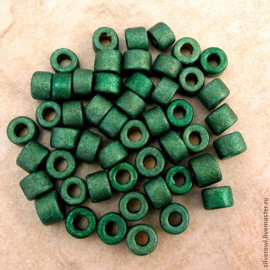 Для украшений ручной работы. Ярмарка Мастеров - ручная работа. Купить Мини-трубочки керамические, Миконос, зеленые с мет. блеском. Handmade.