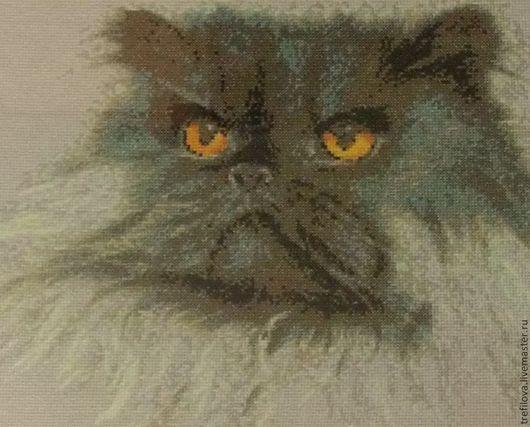"""Животные ручной работы. Ярмарка Мастеров - ручная работа. Купить Вышитая картина """"Персидский кот"""". Handmade. Разноцветный, Санкт-Петербург"""