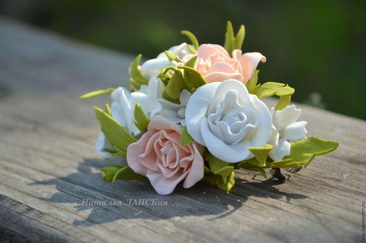 Заколки ручной работы. Ярмарка Мастеров - ручная работа. Купить Заколка с розами. Handmade. Бледно-розовый, заколка, заколка цветок