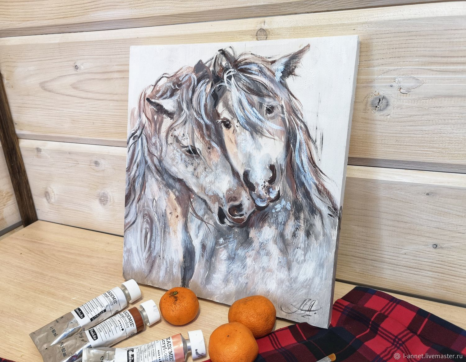 Painting with horses, Tenderness for two, painting on a tree, Pictures, Moscow,  Фото №1