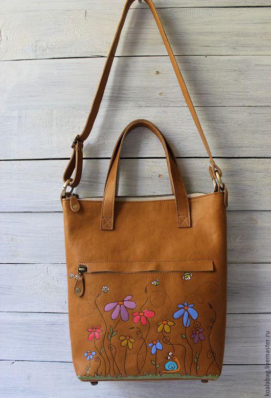 """Рюкзаки ручной работы. Ярмарка Мастеров - ручная работа. Купить Сумка-рюкзак из натуральной кожи """"Улей"""". Handmade. Рыжий"""