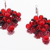 "Украшения handmade. Livemaster - original item Earrings ""Summer berries"" garnet, red corral. Handmade."